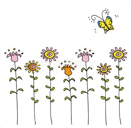 花と蝶 手書きイラスト