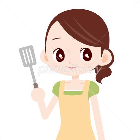 可愛い主婦 料理をする フライ返し イラスト素材 2983037 フォト