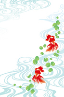 Illustrations of goldfish and Mizumon stock photo
