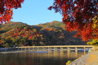 Arashiyama of autumn leaves and Togetsukyo stock photo