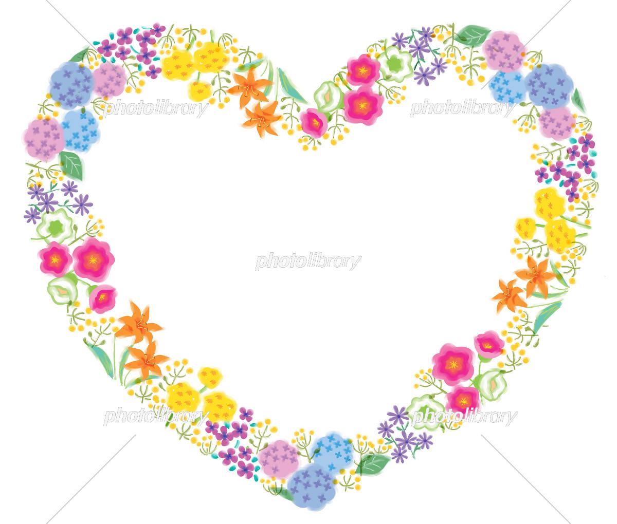 花 枠 フラワー ハート フレーム イラスト イラスト素材 [ 3065598
