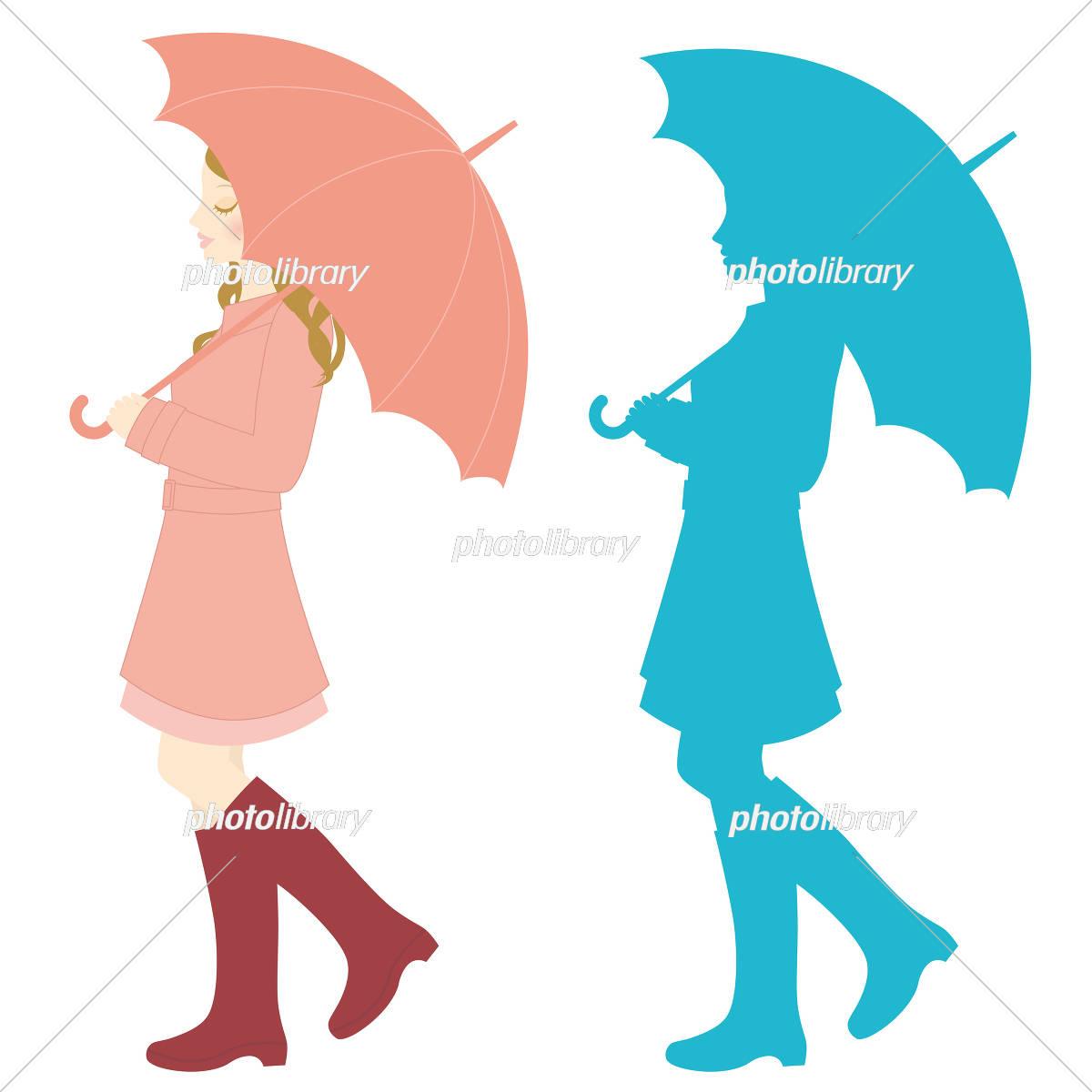 傘をさす女性 イラスト素材 3066101 フォトライブラリー Photolibrary