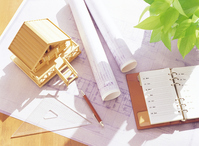 Model of blueprints and house Stock photo [3153208] House