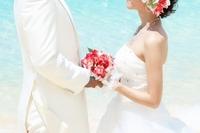 Futari with a bouquet at the resort wedding Stock photo [3256499] Beach