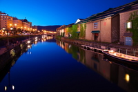 Otaru Canal night view Stock photo [3361376] Hokkaido