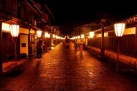 Cobbled Suwa town wetted with light rain Stock photo [3659402] Suwa-cho