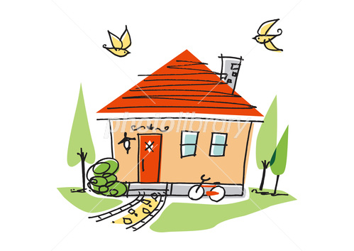 住宅 赤い屋根のかわいい家 イラスト素材 3769348 フォトライブ