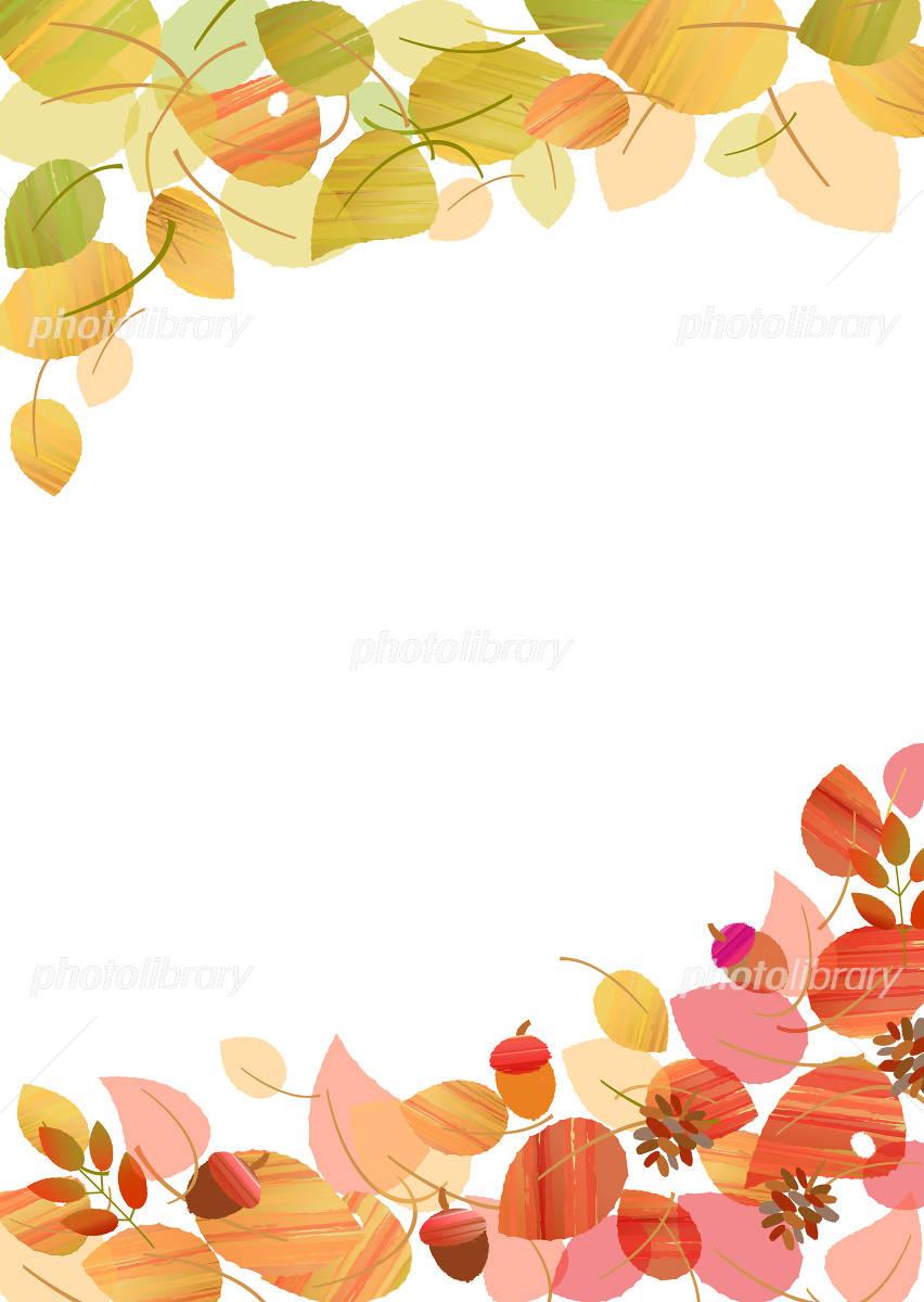 Autumn frame leaves tree nuts イラスト素材