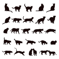 Cat silhouette set [3879554] Cat