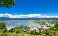 Lake Suwa and Suwa seen from Lake Suwa Service Area Stock photo [3975087] Lake