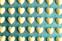 Heart-shaped white chocolate blue background Stock photo [4177648] heart