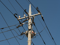 Electric wires and telephone poles Stock photo [4219623] Electric