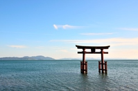 Shiga Prefecture Shirahige shrine lakeside torii Stock photo [4228824] Lake