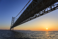 Dawn, Hyogo Prefecture Awaji city of Akashi Kaikyo Bridge Stock photo [4361995] Morning