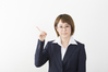Businesswoman upper body pointing Looking At Camera indoor ID:4442910