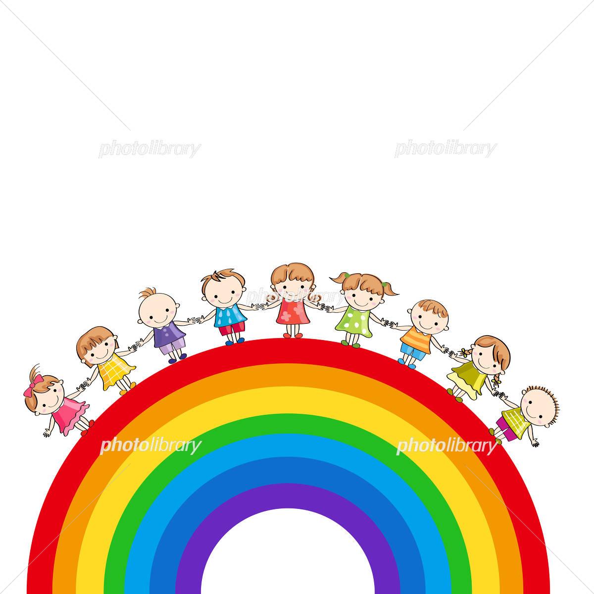 手をつなぐ子供たちと虹 イラスト素材 4529605 フォト