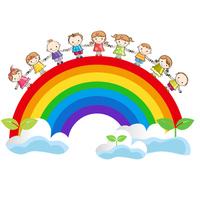 Holding Hands children and rainbow [4529594] Rainbow