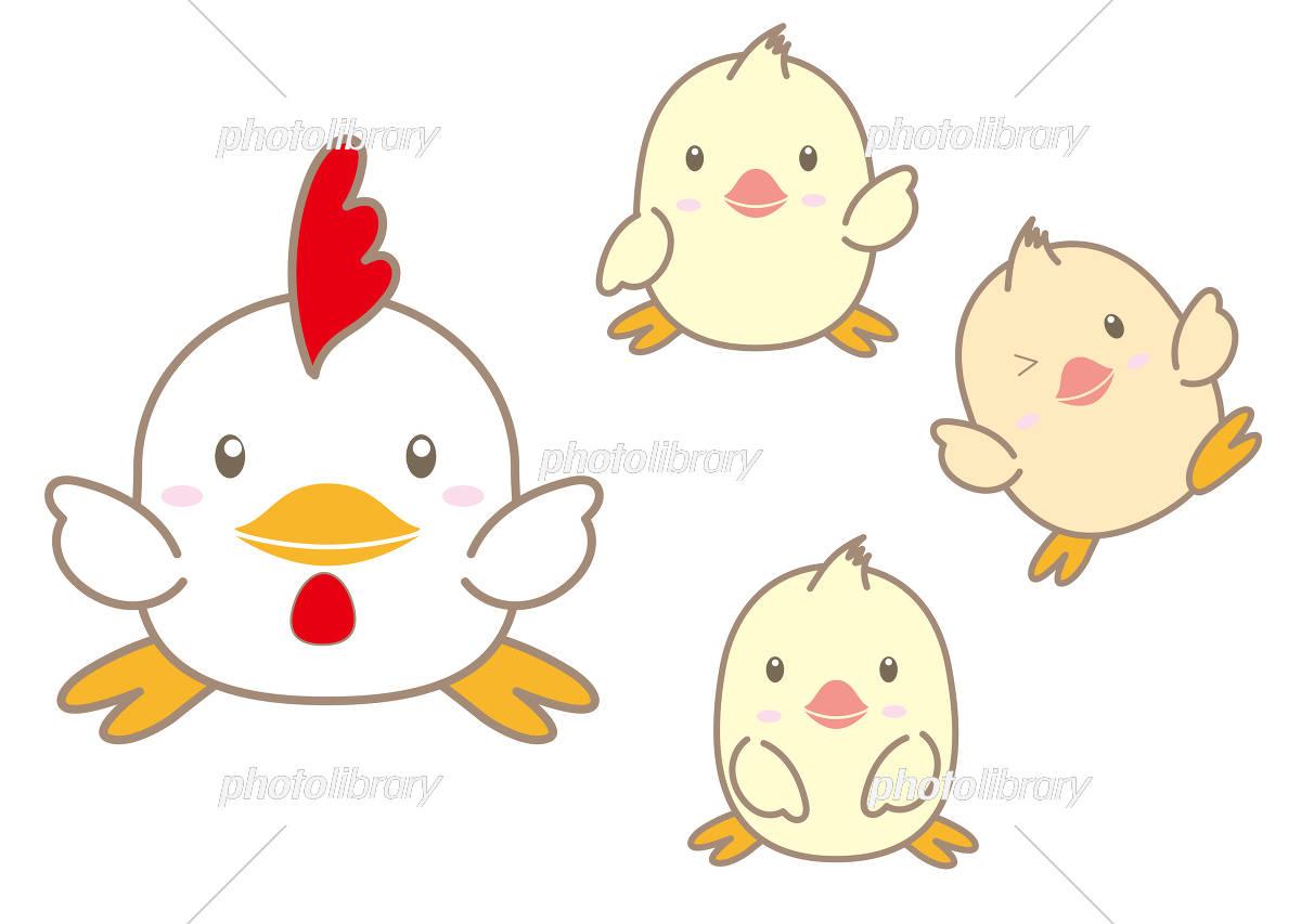 酉年イラスト素材かわいい鶏と雛のセット イラスト素材 4664938