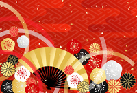 Kiku Ume Mizuhiki fan Japanese pattern background [4723878] New