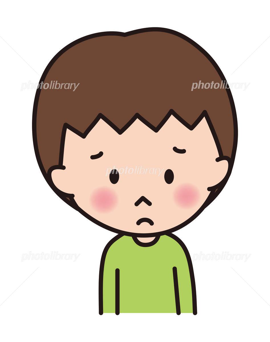 男の子 子供 表情 残念 ガッカリ 悲しい イラスト素材 4914705