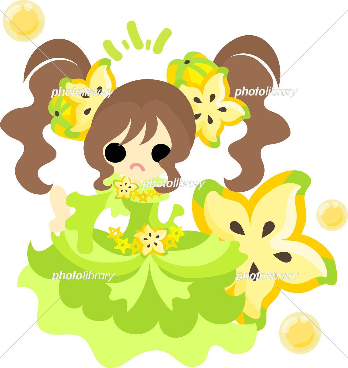 おしゃれなフルーツドレスの女の子 イラスト素材 [ 5017093