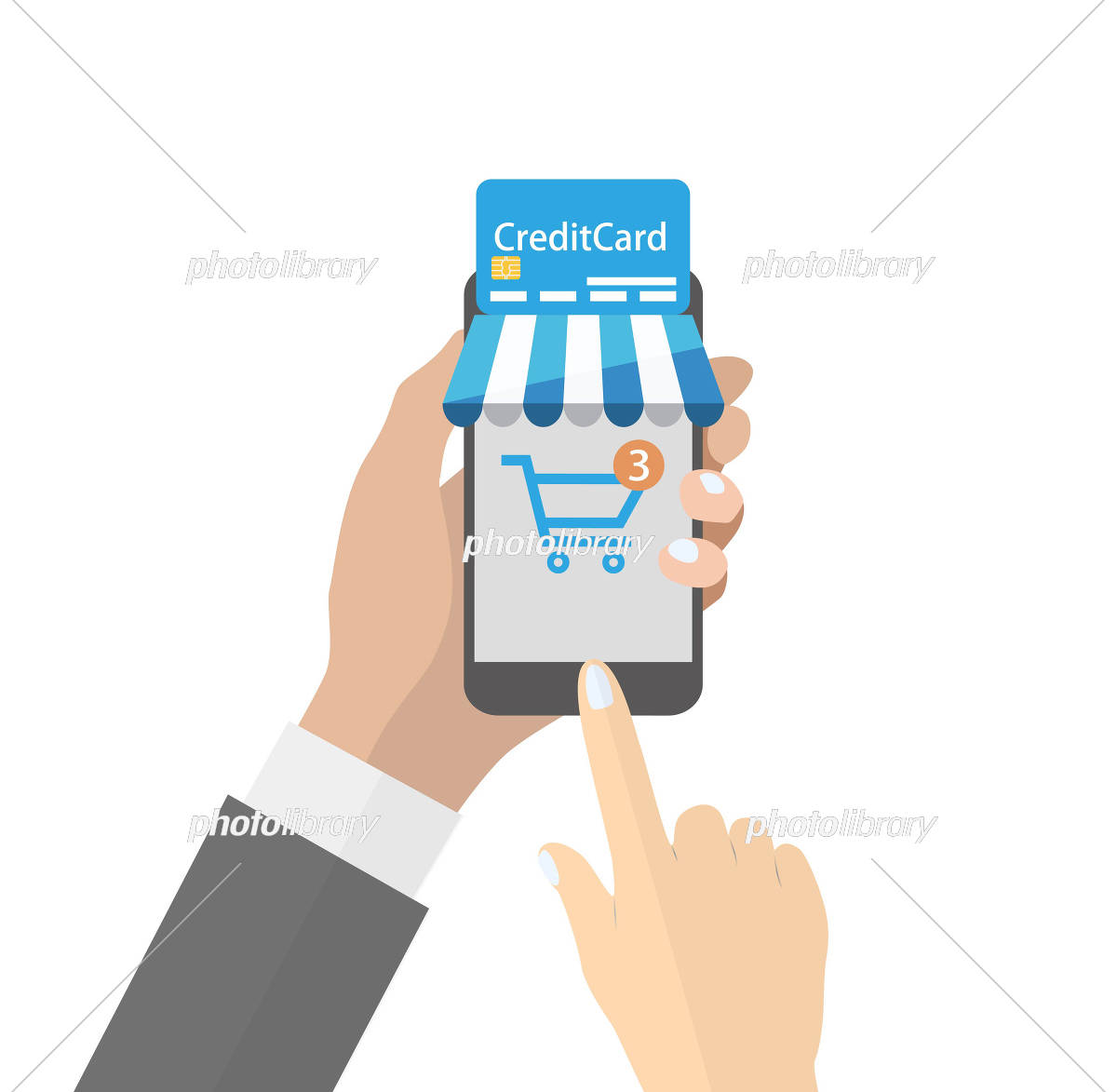 Online shopping on smartphone イラスト素材