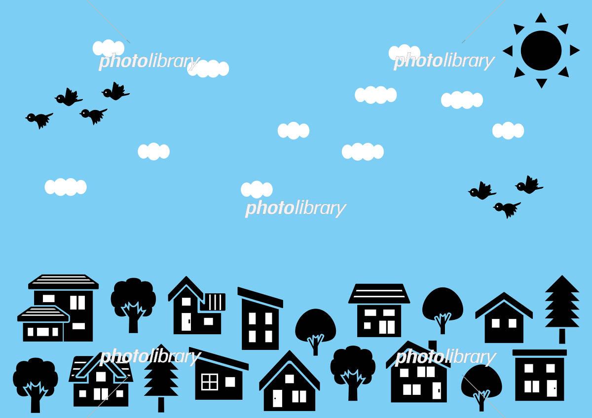 シンプルな家と木の並びシルエット 空と太陽と雲と鳥 イラスト素材