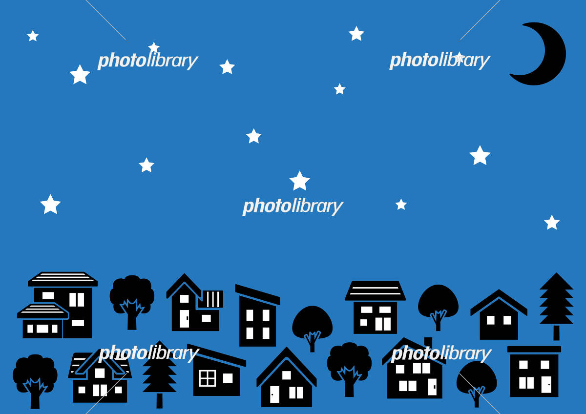シンプルな家と木の並びシルエット 夜空に三日月と星 イラスト素材
