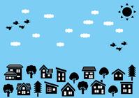 イラスト Simple house and tree row of silhouettes (sky and sun, clouds and birds)(5112490)