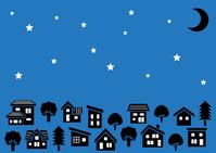イラスト Simple house and wooden silhouette (crescent moon and star in the night sky)(5112492)