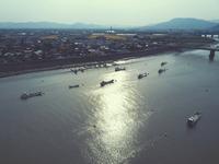 写真 Aerial view of the river side of the Hexagawa River(5112649)