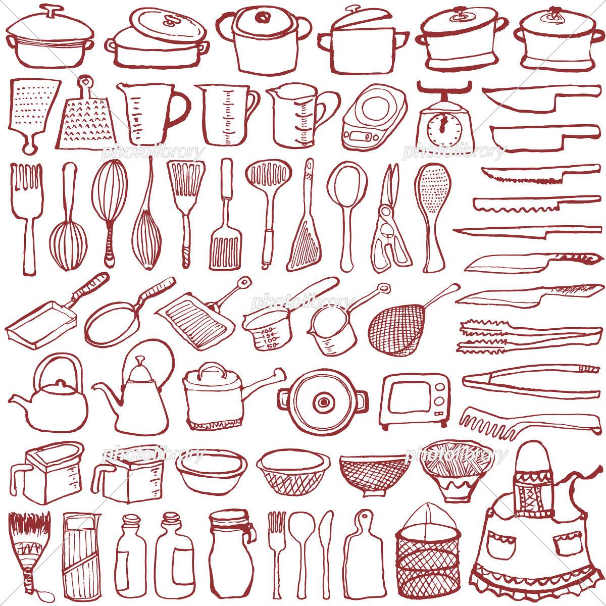 キッチン雑貨 手書きイラスト イラスト素材 [ 5193136 ] - フォトライブ