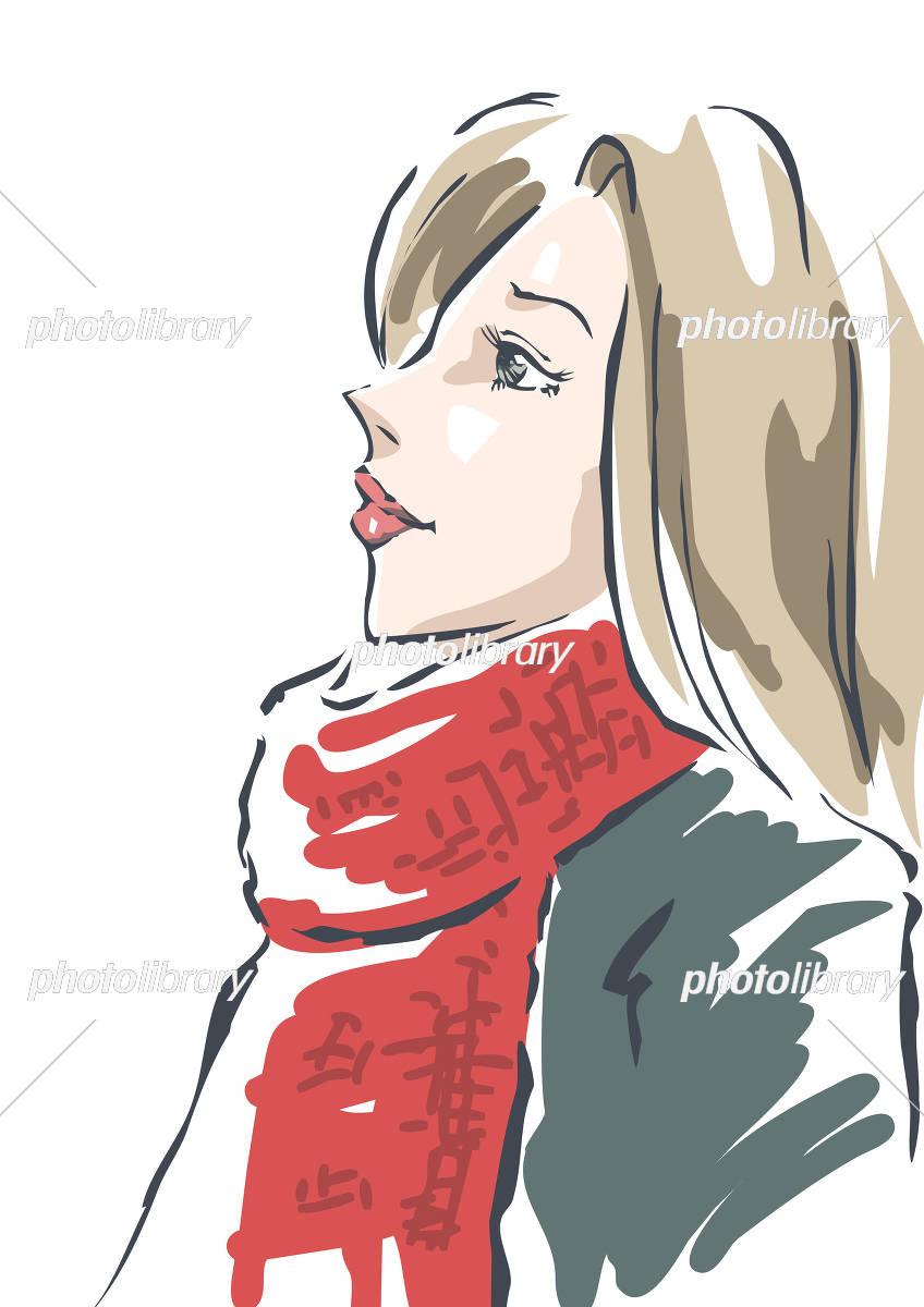 赤いマフラーの女性 イラスト素材 [ 5197148 ] - フォトライブラリー