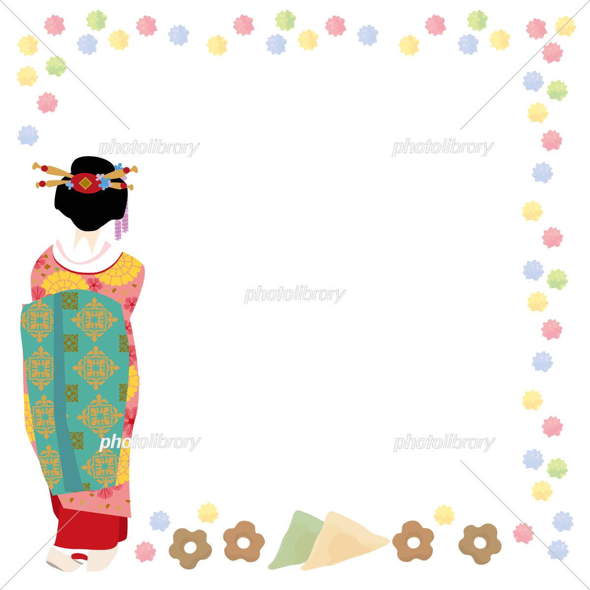 京都 春 舞妓さん イラスト イラスト素材 [ 5200534 ] - フォトライブ