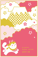 New Year cards 2018 Mt. Fuji and a lionic dog [5194317] New