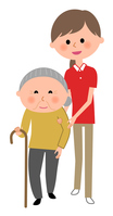 イラスト Nursing care staff Elderly people walking assistance(5200164)