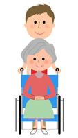 イラスト Elderly nursing staff in wheelchair(5200175)