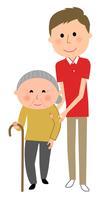イラスト Nursing care staff Elderly people walking assistance(5200176)