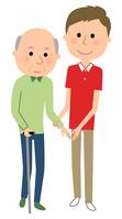 イラスト Nursing care staff Elderly people walking assistance(5200260)