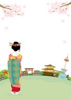 イラスト Kyoto Spring landscape illustration(5200539)