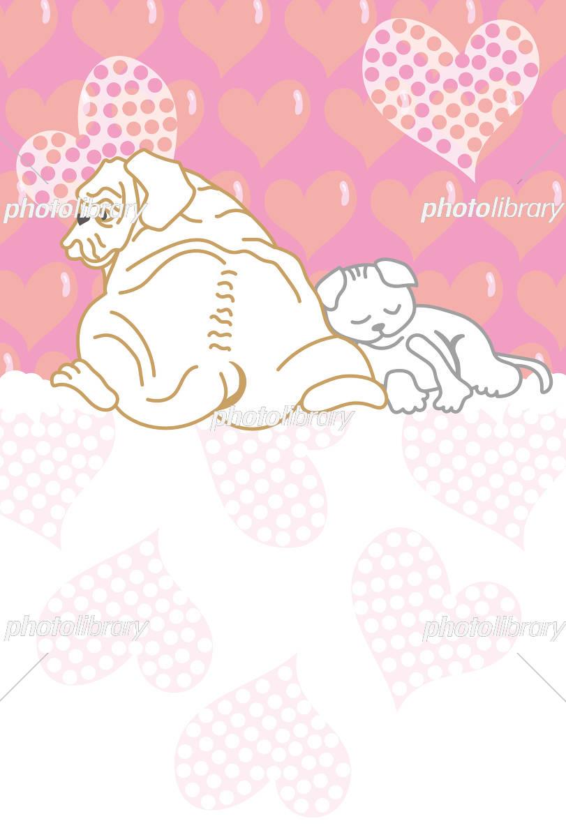 犬と猫の可愛いいピンクのポストカード イラスト素材 5297082