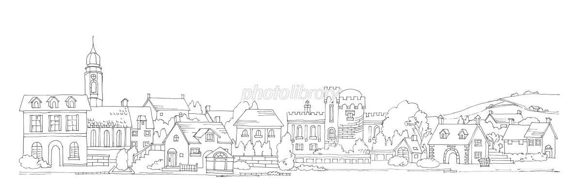 ヨーロッパの街並と田園風景 イラスト素材 5379584 フォトライブ
