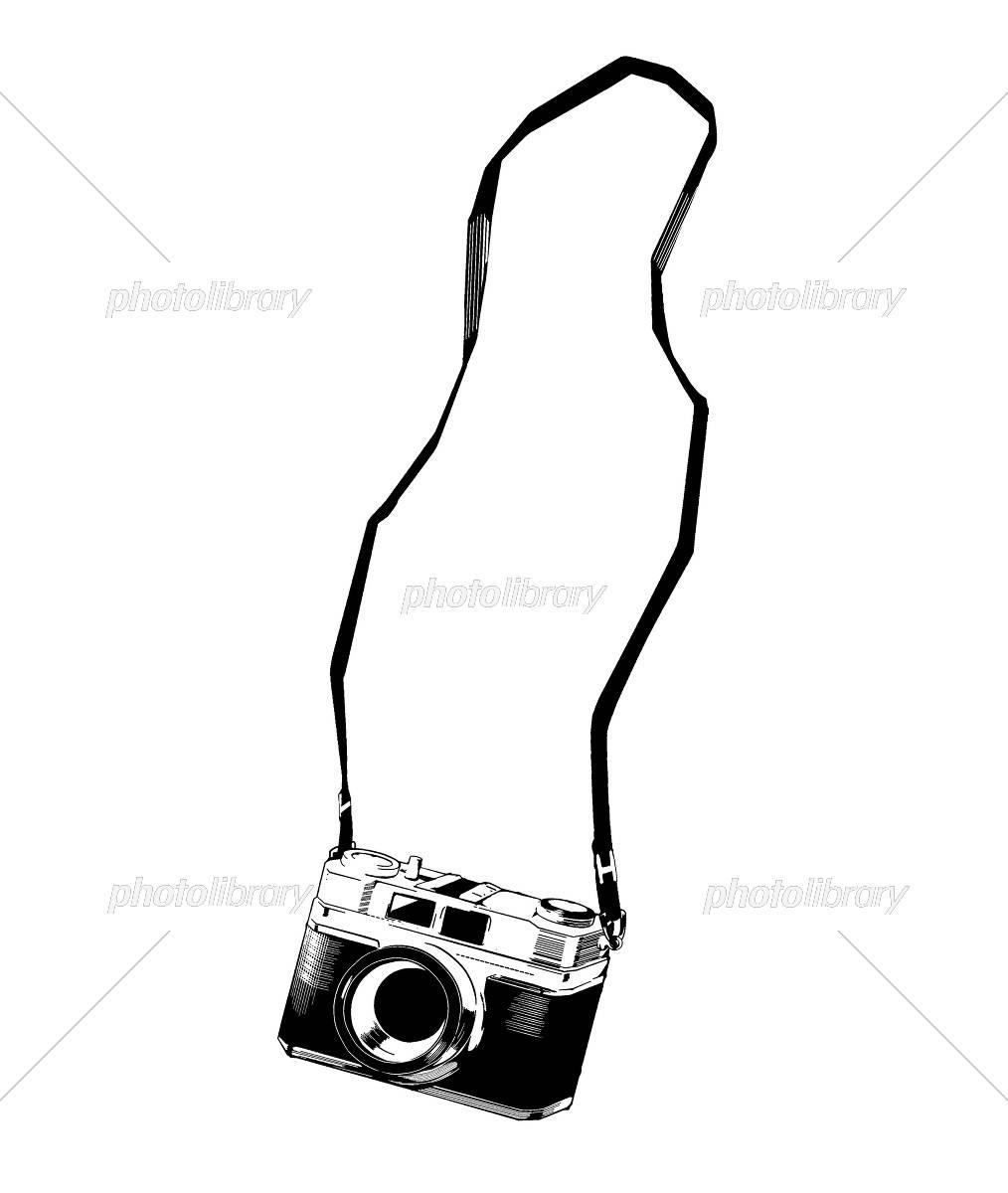 レトロなカメラのイラスト ストラップ付き イラスト素材 [ 5385039