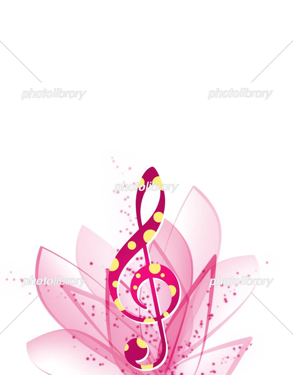 花模様 花柄 音楽 譜面 五線譜 コンサート イラスト素材 [ 5434579