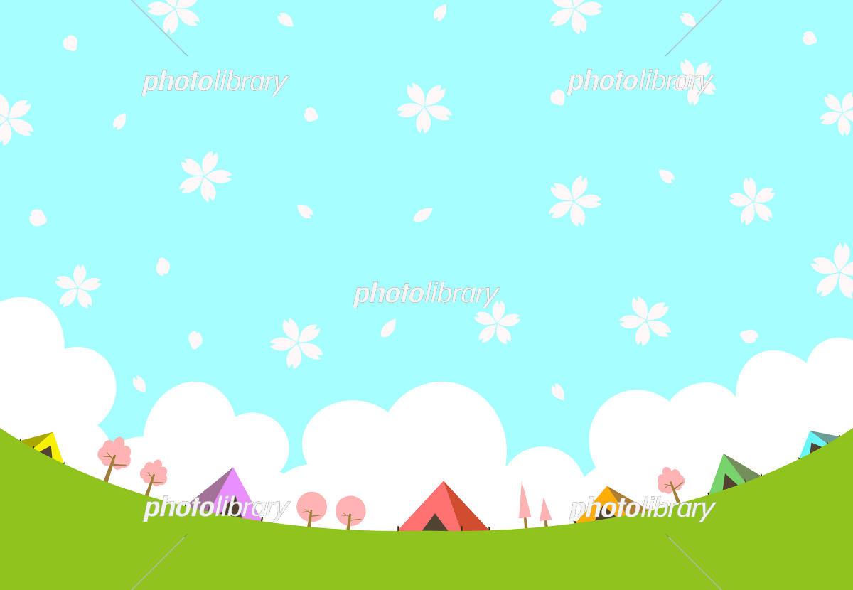 キャンプ場 花畑のイラスト