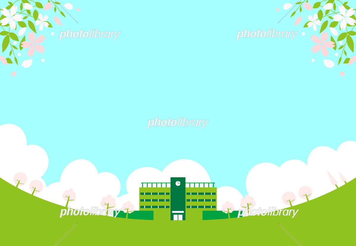 校舎 桜 イラスト素材 5436730 フォトライブラリー Photolibrary