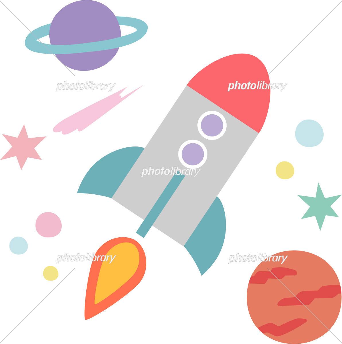 宇宙を飛ぶロケット イラスト素材 5437807 フォトライブラリー