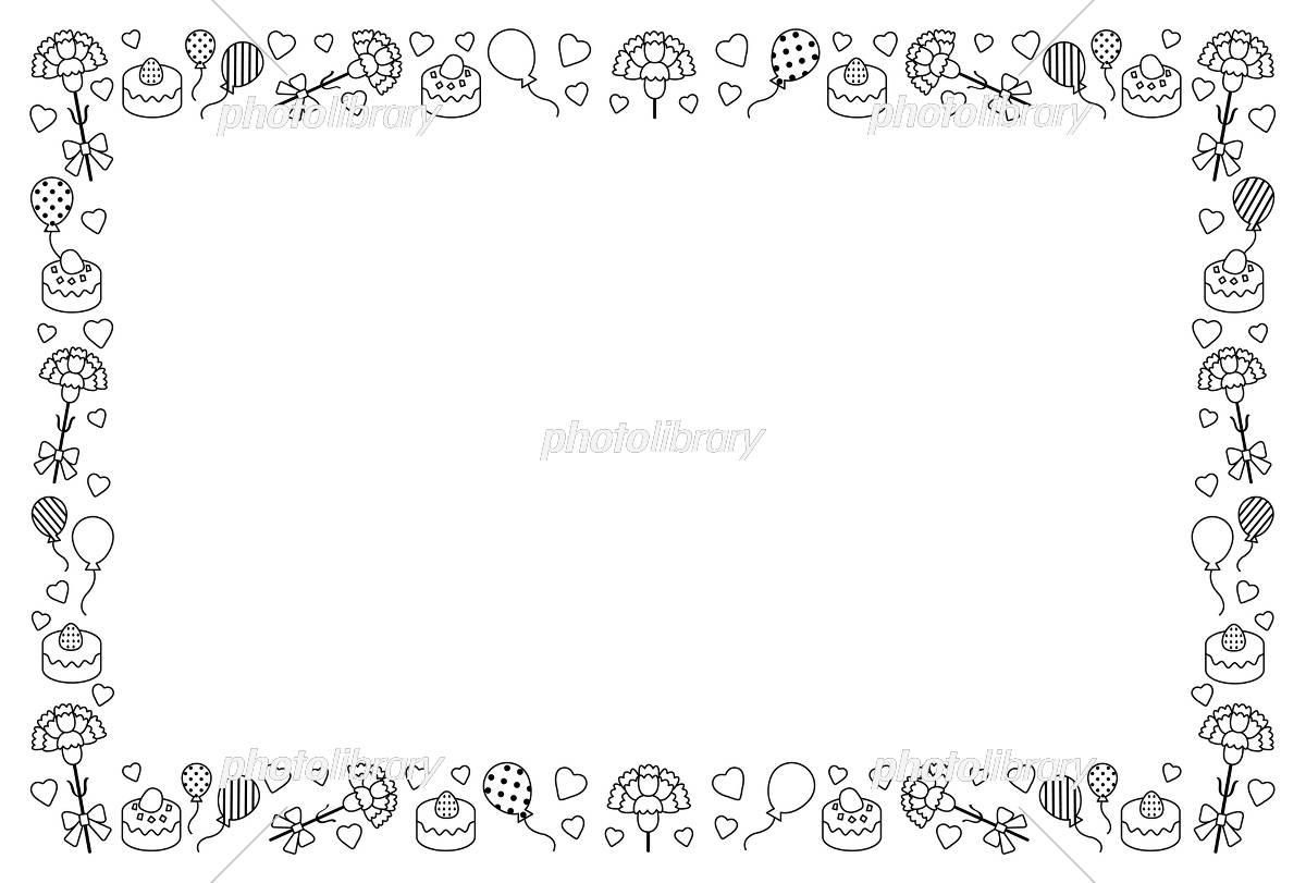 母の日のフレーム 白黒 イラスト素材 [ 5440573 ] - フォトライブラリー
