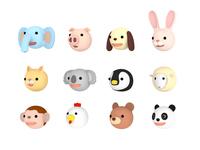 イラスト Animal illustration set facing left, 3D illustration(5438362)