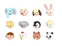 イラスト Animal illustration set downwards, 3D illustration(5438367)